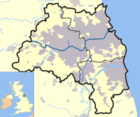 Sunderland's position in Tyne and Wear