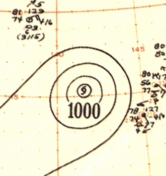 1951 Pacific typhoon season - Image: Typhoon Hope analysis 18 Apr 1951