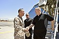 U.S. Deputy Defense Secretary Bob Work, right, speaks with Marine Corps Gen. Joseph F. Dunford Jr., commander of the International Security Assistance Force, upon his arrival at Kabul International Airport in K 140622-D-NI589-878b.jpg