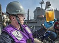U.S. Navy Gas Turbine System Technician (Mechanical) Fireman Griffin Lund checks a fuel sample aboard the guided missile destroyer USS Gravely (DDG 107) during an underway replenishment with the fleet 130504-N-KA046-075.jpg