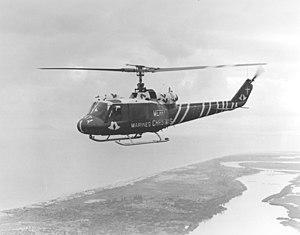 HMLA-167 - An HML-167 UH-1E over Marble Mountain, Christmas 1970.