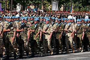United Nations peacekeeping - A multinational UN battalion at the 2008 Bastille Day military parade