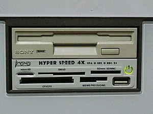 A USB card reader and a floppy drive