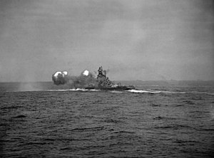 USS Alabama (BB-60) - Alabama fires a salvo during exercises with the British Home Fleet in 1943