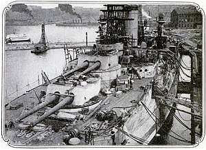 USS Florida (BB-30) - Florida during fitting-out work in 1911