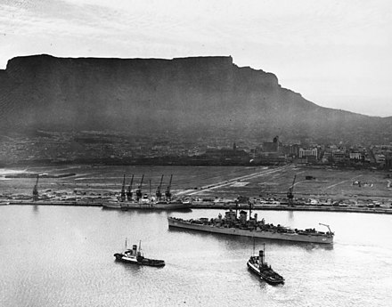 In 1945 the expansion of the Cape Town foreshore adding an additional 480 acres to the city bowl area was completed. USS Huntington (CL-107) at Cape Town in October 1948.jpg