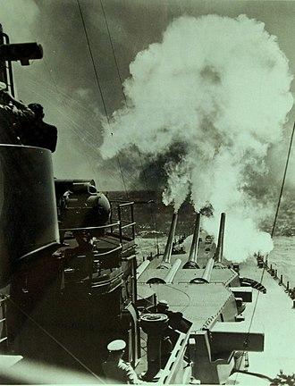"USS North Carolina (BB-55) - Image: USS North Carolina (BB 55) firing forward 16"" 45 guns during trials in mid 1941 (22366907524)"