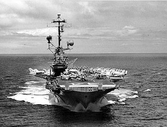 USS Oriskany (CV-34) - Oriskany showing angled flight deck and hurricane bow.