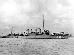 USS Preble (DD-345) at anchor in the early 1920s
