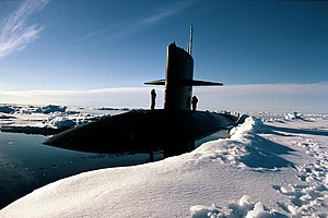 USS Queenfish (SSN-651) at North Pole, 6 August 1970.