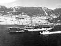 USS Valley Forge (CV-45) steams out of Gibraltar harbour in 1948.jpg
