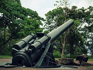 Fort Saulsbury - 12-inch M1895 gun on M1917 high-angle barbette carriage at Fort Mills, Corregidor, Philippines, similar to the guns at Fort Saulsbury.