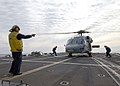 US Navy 040309-N-4374S-009 An MH-60S Knighthawk assigned to the Dragon Whales of Helicopter Combat Support Squadron Eight (HC-8) prepares to launch from the flight deck aboard the guided missile frigate Taylor (FFG 50).jpg