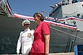 US Navy 040918-N-3228G-017 Commanding Officer of the guided missile destroyer USS Chung-Hoon (DDG 93), Cmdr. Kenneth L. Williams Jr., escorts Hawaii Governor Linda Lingle to the brow at his ship's commissioning ceremony i.jpg