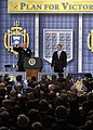 US Navy 051130-N-8395K-001 U.S. Naval Academy Superintendent, Vice Adm. Rodney P. Rempt introduces President George W. Bush to the Brigade of Midshipmen.jpg