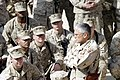 US Navy 060211-M-7772K-004 Multi-National Forces Commander, U.S. Army Gen. George Casey, speaks with Marines from Regimental Combat Team 2 about their achievements made during Operation Iraqi Freedom.jpg