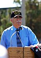 US Navy 070713-N-4007G-002 Robert Watson, a Sailor who was attached to the 6th Beach Battalion that stormed Omaha Beach during D-Day, June 6, 1944, addresses the audience during Beachmaster Unit (BMU) 1's 58th anniversary.jpg