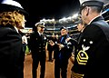 US Navy 091104-N-2147L-004 New York City Mayor Michael Bloomberg greets Cmdr. Curt Jones, commanding officer of the amphibious transport dock ship Pre-Commissioning Unit (PCU) New York (LPD 21).jpg