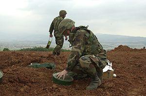 美国陆军工兵部队正在清除地雷。