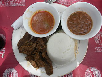 Ugali - Ugali with beef and sauce.