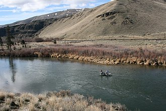 Umtanum Ridge Water Gap - Fly fishing from drift boat on the Yakima River in the Yakima River Canyon.