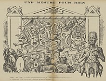 Desenho monocromático representando um balé executado no palco por membros do gabinete de Rouvier vestidos com tutus, enquanto o Presidente Loubet desempenha o papel de maestro.