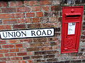 Union Road sign and postbox, Lincoln, England - DSCF1640.JPG