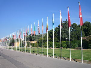 Palau Reial de Pedralbes - Image: Union for the Mediterranean flags