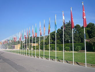 Union for the Mediterranean - Flags of UfM members, located at the Royal Palace of Pedralbes, in Barcelona (UfM headquarters)
