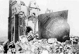 Urakami Tenshudo (Catholic Church in Nagasaki) in January, 1946, destroyed by the atomic bomb, the dome of the church having toppled off.