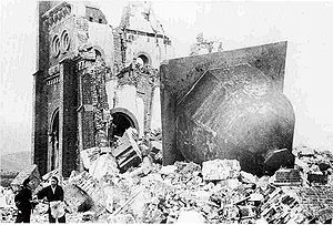 Atomic bombings of Hiroshima and Nagasaki - Urakami Tenshudo (Catholic Church in Nagasaki) destroyed by the bomb, the dome/bell of the church, at right, having toppled off