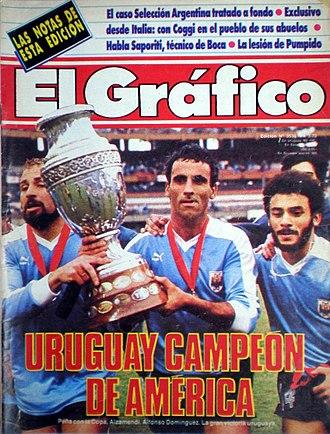 Antonio Alzamendi - Domínguez and Alzamendi with the 1987 Copa América trophy.