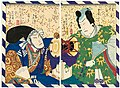 Utagawa Kunisada II - Actors Sawamura Tosshô II as Minamoto no Yoshitsune and Bandô Hikosaburô V as Kawagoe Tarô.jpg
