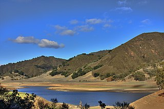 Uvas Reservoir artificial lake in California, U.S.