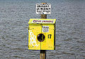 Vandalized life preserver box, Windsor, Ontario, 2014-12-07.jpg
