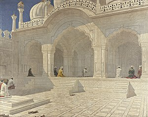 Moti Masjid (Red Fort) - Painting of the mosque in the late 1880s, by Vasily Vereshchagin