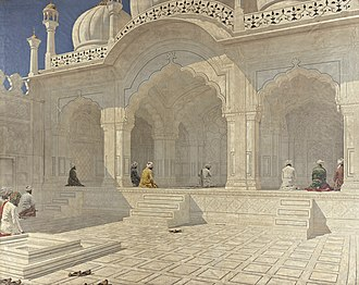 1660s in architecture - Pearl Mosque, Delhi, painted by Vasily Vereshchagin in 1880s