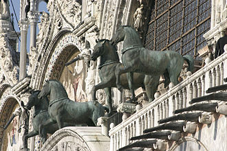 Sack of Constantinople (1204) - The Horses of Saint Mark displayed on the facade of St Mark's Basilica in Venice