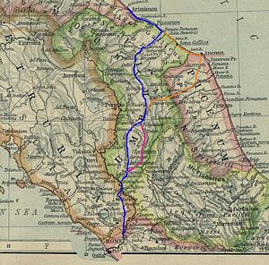Via Flaminia - Route of the Via Flaminia; the purple route indicates the Via Flaminia nova.