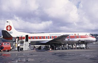 New Zealand National Airways Corporation - NAC Vickers Viscount 807 at Wellington Airport in 1971