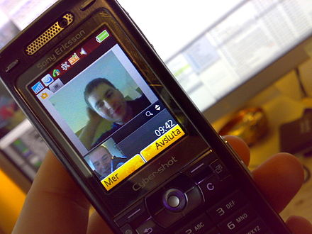 A mobile video call between Sweden and Singapore made on a Sony Ericsson K800 (2007). Video Call.jpg