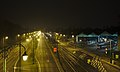 View from Passerelle de la Woluwe at night- Avenue de Tervuren (North) and Musee du Tram (right), Woluwe-Saint-Lambert, Belgium (DSCF2542).jpg