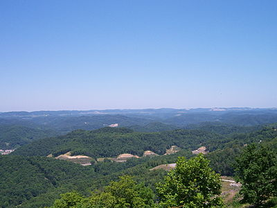 The Eastern Kentucky Coalfield is known for its rugged terrain. View from Pine Mountain (Kentucky).jpg
