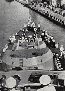 View from the bridge of HMNZS Royalist at Devonport Naval Base, 1956.jpg
