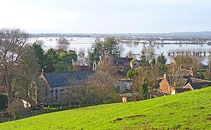 Blick auf Burrowbridge in der Grafschaft Somerset, Südwestengland am 14. Februar 2014