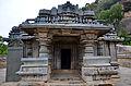 View of entrance with half pillars on porch in Akkana Basadi at Shravanabelagola.jpg
