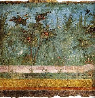 Villa of Livia - Image: Villa di livia, affreschi di giardino, parete corta meridionale 01