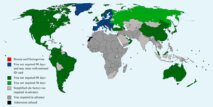 Visa policy of Bosnia and Herzegovina - Image: Visa policy of Bosnia and Herzegovina