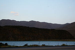 U.S. Route 395 in California - Volcanic rock above Little Lake, as seen from US 395
