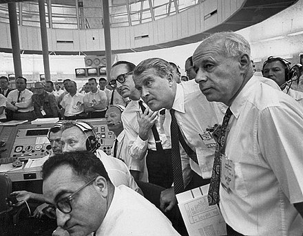 At launch control for the May 28, 1964, Saturn I SA-6 launch. Wernher von Braun is at center. VonBraunMuellerReesSA6.jpg